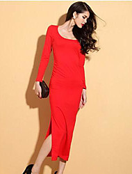 Women's Party/Cocktail Sexy Dress,Solid Maxi Long Sleeve Red / Black Others Summer