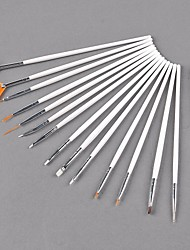 15 PCS in 1 Animal Wool Nail Painting Draw Pen Brush DIY Decoration Make Tools