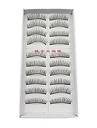 10Pairs Super Longer Darker Curved Black Fiber False Eyelashes