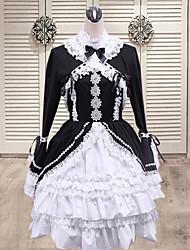 Countess Long Sleeve Knee-length Black Cotton Classic Lolita Dress