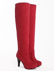 Women's Fall / Winter Riding Boots Suede Casual Cone Heel Black / Brown / Red / Gray