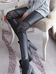 Women's Embroidery Stitching Leather Leggings