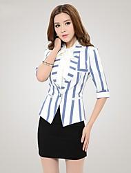 Qiaojiaren cuello de la camisa de medio cuerpo de la manga de empalme Stripes Blazer