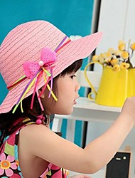 Children's Ribbon Satin Bow Straw Summer Hat