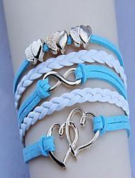 mode d'or à double coeur bracelet tissé de unisexe (couleur assortie)