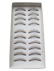 10Pairs European Natural Looking Handmade Coffee-brown Crossed Thicker High-grade Chemical Fiber False Eyelashes