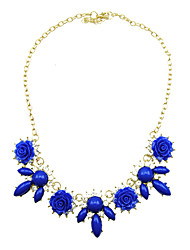Kushang Personality Korean Simple Flower Neckalce(Royal Blue,Orange,Purple)