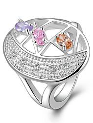 Meles argenté élégant anneau de Zircon