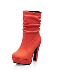 pedaços da plataforma do salto rodada toe boots meados de bezerro que reunem-se das mulheres (mais cores)