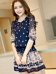 Woman's Blue Floral Print Chiffon Bohemia Mini Dress
