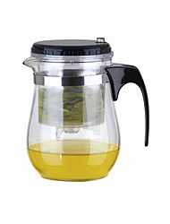 Easy Push Button Strainer Glass Tea Pot With Lock (500ml)