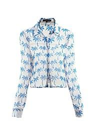 Женская Кокосовая пальма печати шифон рубашка