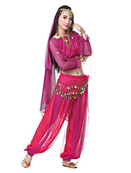 Performance Women's Silk Morden Dance Outfits-Including Headpiece,Veil,Belt,Top,Bottom(More Colors)