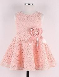 Girl's Summer Sleeveless Lace Flower Bowknot Dress