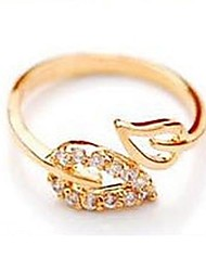 Lucky Doll Women's Diamond Leaf Open Ring