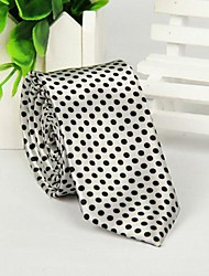 petit modèle d'impression de points à la mode cravate argentée décontractés pour hommes