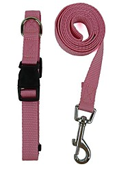 Dog Collar / Leash Adjustable/Retractable Red / Black / Green / Blue / Pink / Purple / Orange Nylon