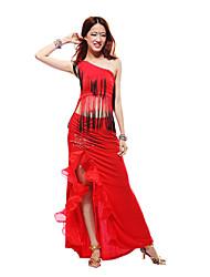 Dança Latina Roupa Mulheres Treino Algodão Top Length:50cm,Skirt Length:100cm