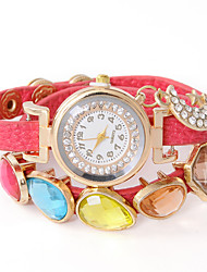 Dare U Punk Leather Diamonded  Gemstone Stylish Chain Watch
