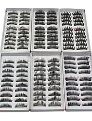 60PCS 6 Mixed Styles Natural Handmade Black Longer Thicker Fiber False Eyelashes