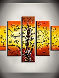 Hand Painted Oil Painting Golden Rich Tree Landscape Paintings with Stretched Frame Set of 5