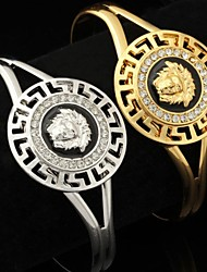 U7® High Quality Enamel 18K Gold Platinum Plated Lion Head Cuff Bracelet Bangle for Women