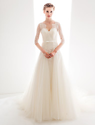 Lanting Dress - Ivory Petite / Plus Sizes A-line / Princess Sweetheart Chapel Train Tulle / Lace