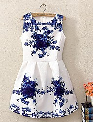 Women's Going out A Line / Skater Dress,Print Round Neck Sleeveless Polyester Spring / Summer / Fall