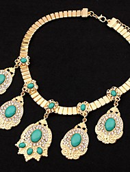 Ablla Korean Vintage Style Ladys Drop Shaped Gem Necklace