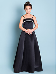 A-Line Princess Spaghetti Straps Floor Length Satin Junior Bridesmaid Dress with Pleats by LAN TING BRIDE®