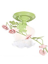Flush Mount Light Art Hierro Cerámica Roses Rural Country Style