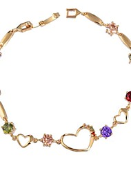 moda coração forma delicada das mulheres 18 k pulseira de ouro chapeado