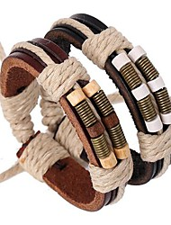 The Latest Bronze Springs Wooden Beads Leather Bracelet  Jewelry