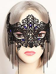 Elegante schwarze Spitze-Prinzessin Halloween-Maskerade Maske mit blauem Edelstein
