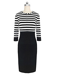 Stripes Splicin Gfitted Sheath Dress
