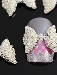 10pcs  3D  Pearl  Bow Tie Alloy Accessories Nail Art Decoration