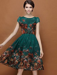 Women's Plus Size Floral Dark Green Dress,Casual Swing Round Neck Puff Sleeve