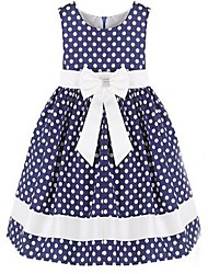 Girl's New Blue and White Dot Bow Party Pageant Wedding Children Clothes Lovely Dresses