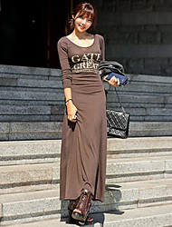 Women's Letter Black/Brown Dress , Sexy/Bodycon/Beach/Casual/Maxi Round Neck Long Sleeve