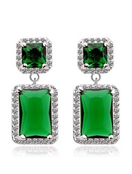 Brass Vermeil Plated With Cubic Zirconia Rectangle Stud Earrings(More Colors)