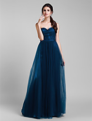 Lanting Bride Floor-length Tulle Bridesmaid Dress - Convertible Dress A-line Plus Size / Petite with Ruffles / Side Draping