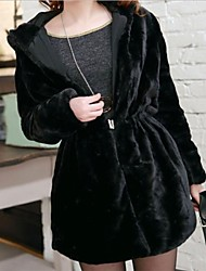 Women's Hoodie Faux Fur Both Side Worn Coat