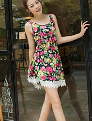 Women's Vintage Floral A Line Dress , U Neck Knee-length Cotton