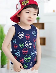 Boy's Summer New Korean Children's Clothes Thin Section Printed Vest Skull