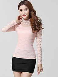Women's Stand Emlroidery Lace Cutout Long-sleeved T-shirt