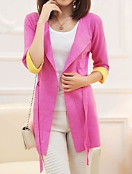 Women's Casual Candy Color Slim Long Cardigan Outerwear