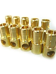 6.0mm Gold Plated Connector Male and Female,Body:Brass,Amps:60-180A (10Pairs)