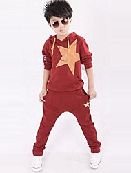 Boy's Fashion Leisure Pentagram Long Sleeved Two Piece Clothing Set