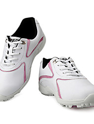 PGM Women's Microfiber Leather+Rubber Soft Sole White+Pink Breathable Golf Shoes