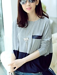 Women's Zipper Decorative Stitching Round Neck Long Sleeved T-shirt
